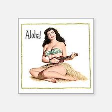 "Brunette Pinup Aloha Square Sticker 3"" x 3"""