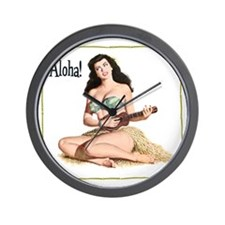 Brunette Pinup Aloha Wall Clock