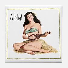 Brunette Pinup Aloha Tile Coaster