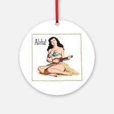 Brunette Pinup Aloha Round Ornament
