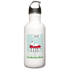 Dog on bird table Water Bottle