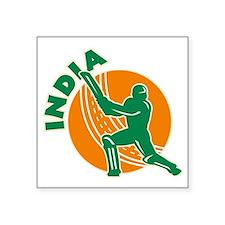 "cricket sports batsman batt Square Sticker 3"" x 3"""