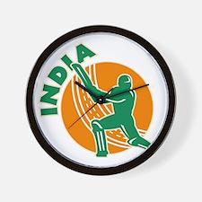 cricket sports batsman batting India Wall Clock