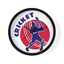 cricket sports batsman batting Wall Clock