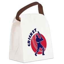 cricket sports batsman batting Canvas Lunch Bag