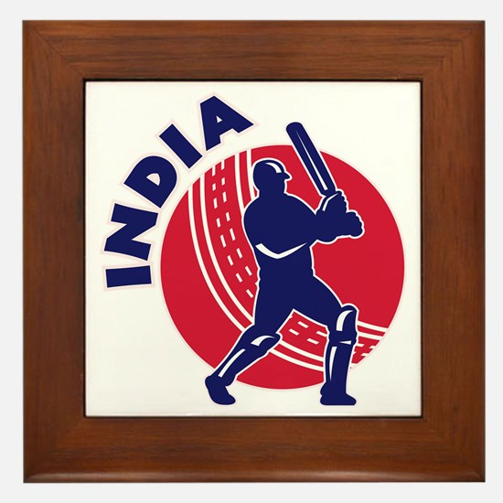 cricket sports batsman batting India Framed Tile