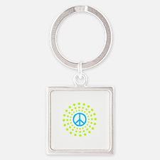 Peace Burst Color Square Keychain