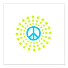 "Peace Burst Color Square Car Magnet 3"" x 3"""