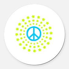 Peace Burst Color Round Car Magnet