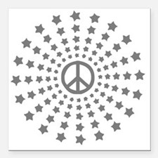 "Peace Burst Square Car Magnet 3"" x 3"""