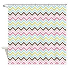 Multi-Colored Chevron Shower Curtain