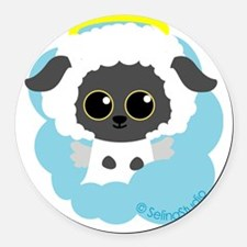sheep angel2 Round Car Magnet
