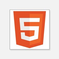 "HTML5-Orange Square Sticker 3"" x 3"""