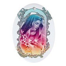Most Pure Heart of Mary (black verti Oval Ornament
