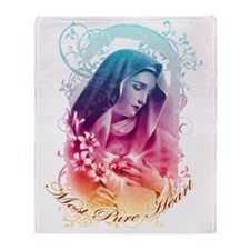 Most Pure Heart of Mary (vertical) Throw Blanket