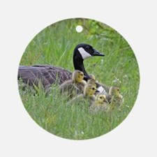 Goslings With Mom Ornament (Round)
