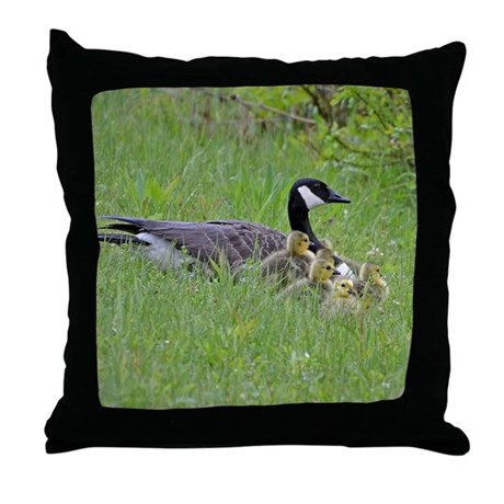 Goslings With Mom Throw Pillow