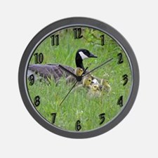 Goslings With Mom Wall Clock