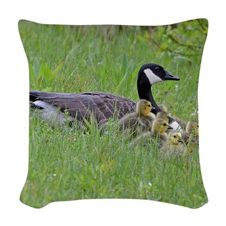 Goslings With Mom Woven Throw Pillow