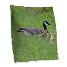 Goslings With Mom Burlap Throw Pillow