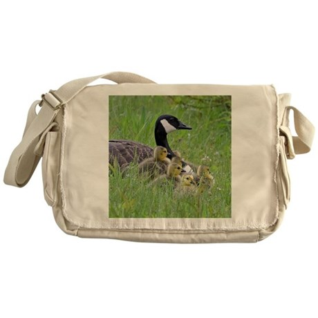 Goslings With Mom Messenger Bag
