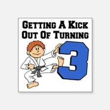 "Karate Turning 3 Birthday Square Sticker 3"" x 3"""