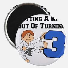 Karate Turning 3 Birthday Magnet