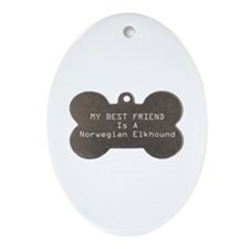 Friend Elkhound Oval Ornament