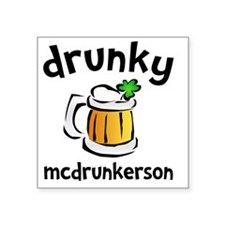 """Drunky Beer Square Sticker 3"""" x 3"""""""