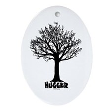 TREE hugger (black) Oval Ornament