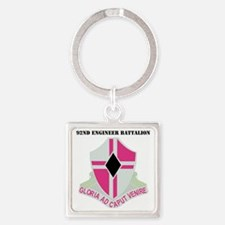 DUI-92ND ENGINEER BN  WITH TEXT Square Keychain