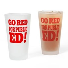 IN GO RED for public ED red Type Drinking Glass