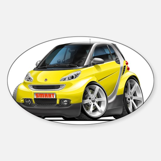 Smart Yellow Car Sticker (Oval)