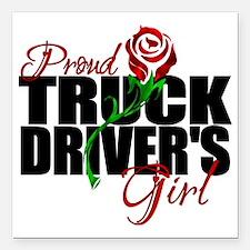 "truckersgirl Square Car Magnet 3"" x 3"""