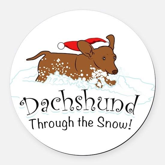 Dachshund Through The Snow Round Car Magnet
