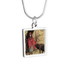 cpearringsRidingHood Silver Square Necklace