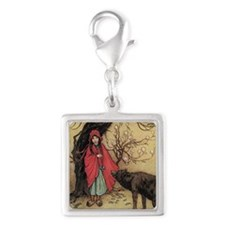 cpearringsRidingHood Silver Square Charm