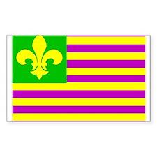 Mardi Gras Flag Rectangle Decal