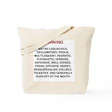Warning new LG 2000x2249 Tote Bag
