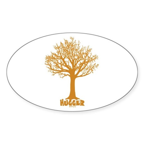 TREE hugger (brown) Oval Sticker