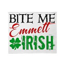 bite me emmett irish Throw Blanket
