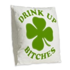 clovers Burlap Throw Pillow