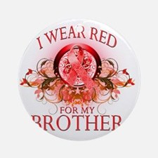 I Wear Red for my Brother (floral) Round Ornament