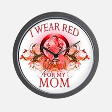 I Wear Red for my Mom (floral) Wall Clock