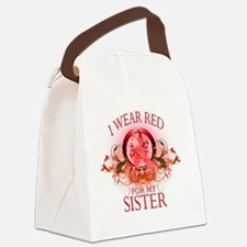 I Wear Red for my Sister (floral) Canvas Lunch Bag