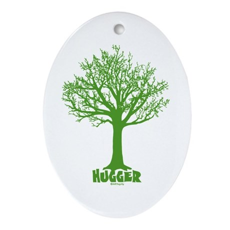 TREE hugger (dark green) Oval Ornament