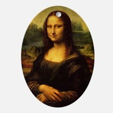 da vinci mona lisa Oval Ornament