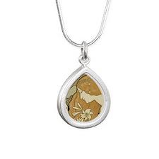 cpearringsANredheadClose Silver Teardrop Necklace