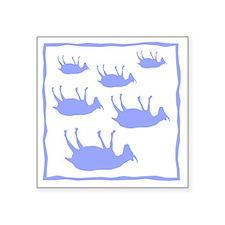 "fainting goat_sq_Blue Square Sticker 3"" x 3"""