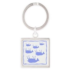 fainting goat_sq_Blue Square Keychain